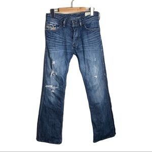 Diesel Ruky Wash 008SS Distressed Boot Cut Jeans